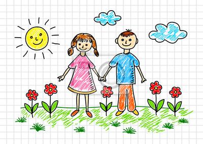 Fototapeta Rysunek Dzieci Na Papierze W Kratkę Na Wymiar