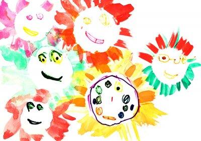Fototapeta rysunek dziecka - wiele szczęśliwych słońca