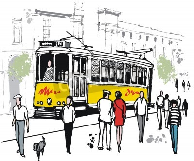 Fototapeta rysunek stary tramwaj w Lizbonie, Portugalia.