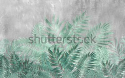 Fototapeta Rysunek tropikalnych liści w stylu tynku ściennego w odcieniach turkusu.