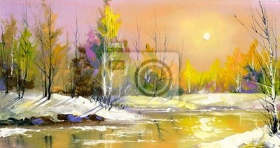 Fototapeta Rzeka drewna na spadek