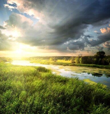 Fototapeta Rzeka przepływa przez pola z zielonej trawie