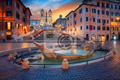 Fototapeta Rzym. Pejzaż miejski wizerunek hiszpańszczyzna Kroczy w Rzym, Włochy podczas wschodu słońca.