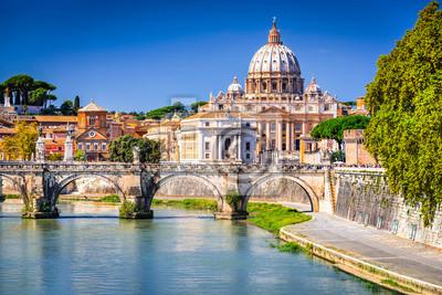 Fototapeta Rzym, Włochy - Watykan, Bazylika św. Piotra i Tybru