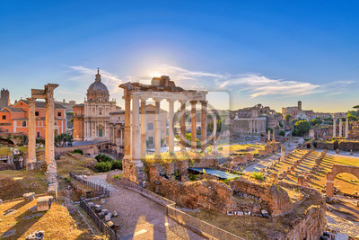 Fototapeta Rzym wschód słońca panoramę miasta na Forum Rzymu (Forum Romanum), Rzym, Włochy