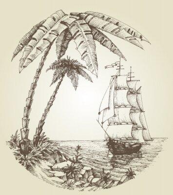 Fototapeta Sailing boat on sea and tropical island destination