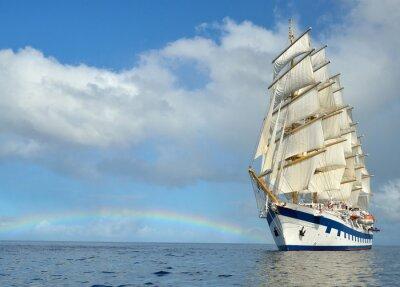 Fototapeta Sailing ship on the background of the rainbow