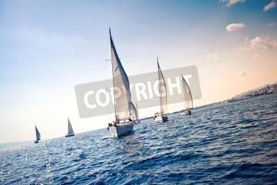 Fototapeta Sailing ship yachts with white sails