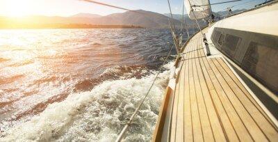 Fototapeta Sailing ships yachts in the open sea. Sailing yacht race.