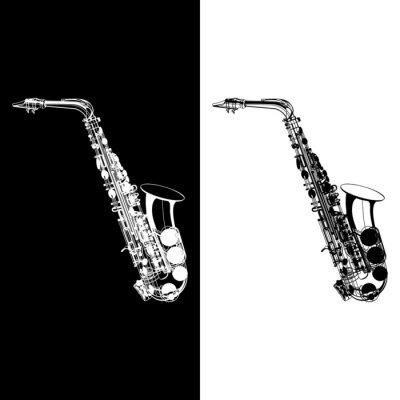 Fototapeta Saksofon czarno-białe