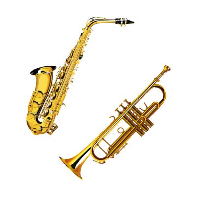 Fototapeta saksofon i trąbka