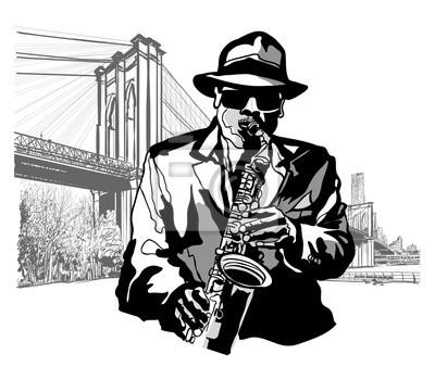 Saksofonista na Brooklyn Bridge