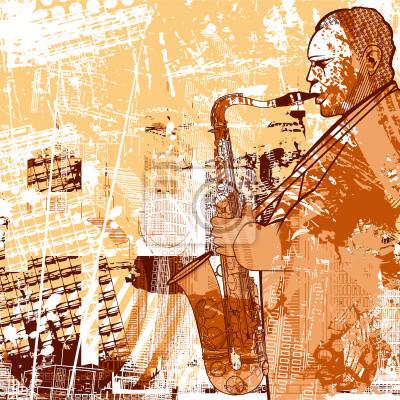 Fototapeta saksofonista na tle grunge