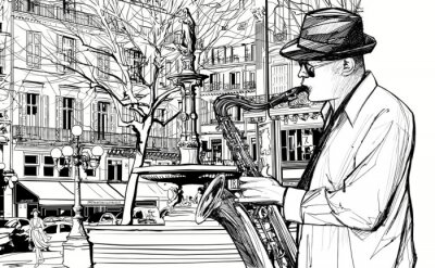 Fototapeta saksofonista w paryskiej ulicy