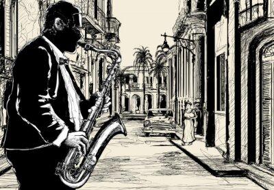 Fototapeta saksofonista w ulicy Kuby