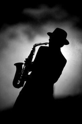 Fototapeta saksofonista, wirtuoz muzyczny w knajpie