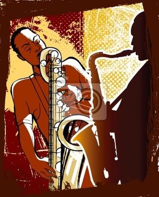Fototapeta saksofonistów na tle grunge
