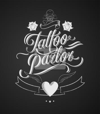 Salon tatuażu. Klasyczne elementy projektu typograficznego na tablicy