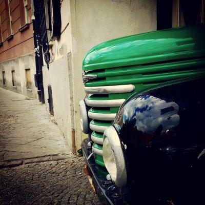 Fototapeta Samochód retro tło ulica
