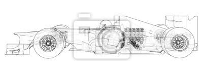 Fototapeta Samochód wyścigowy. Rama drutu. Format EPS10. Grafika wektorowa 3d