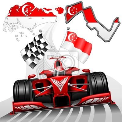 Fototapeta Samochodów wyścigowych Formuły 1 GP Singapur