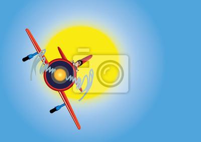 samolot na niebie i słonecznie