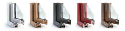 Fototapeta Samples of plastic window profiles PVC of different colors in section isolated on white background.