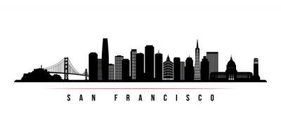 Fototapeta San Francisco skyline horizontal banner. Black and white silhouette of San Francisco, California. Vector template for your design.