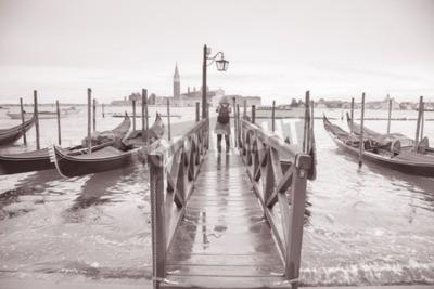 Fototapeta San Giorgio Maggiore Kościół i dzwonnica, Wenecja, Włochy w czerni i bieli Sepia Tone