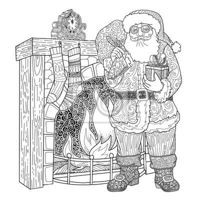 2aad4e613cbb0d Fototapeta Santa Claus i Christmas kominek z prezentów. Wesołych Świąt i  Nowego Roku strona kolorowanka