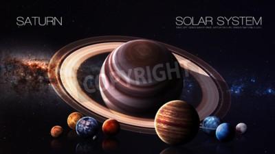 Fototapeta Saturn - rozdzielczości 5K Infografika przedstawia jeden z planety systemu słonecznego.