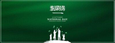 Fototapeta Saudi Arabia national day in September 23 th. Saudi Arabia flag with Happy independence day celebrating vector illustration