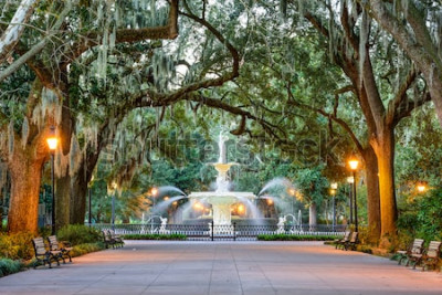 Fototapeta Savannah, Georgia, USA, Fontanna Forsyth Park.