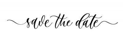 Fototapeta Save the date. Wavy elegant calligraphy spelling for decoration of the wedding invitation