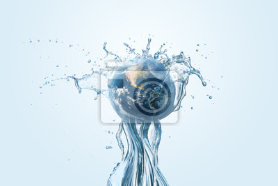 Fototapeta Saving water and world environmental protection concept. Eearth, globe, ecology, nature, planet concepts