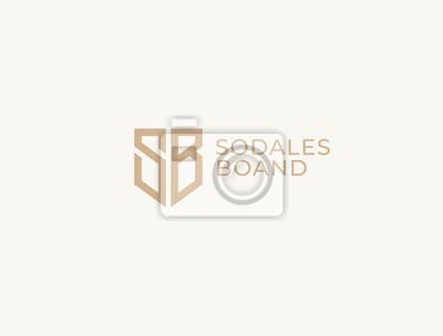 Fototapeta SB. Monogram of Two letters S&B . Luxury, simple, minimal and elegant SB logo design. Vector illustration template.