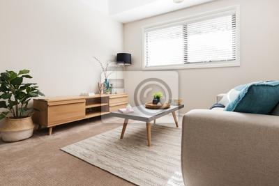 Fototapeta Scandi stylizowany pokój dzienny z niskim bufetem i krytym zakładem