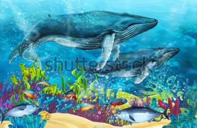 Fototapeta scena kreskówki z wielorybem w pobliżu rafy koralowej - ilustracja dla dzieci