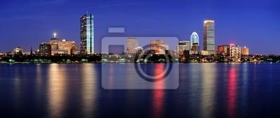 Scena nocy Boston panorama