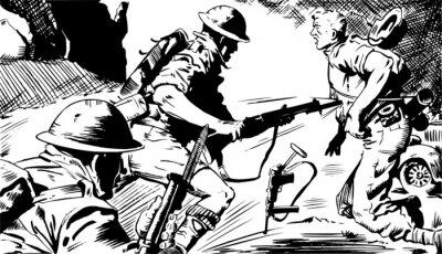 Fototapeta Scena w czarnych i białych żołnierzy w czasie bitwy