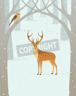 Fototapeta Scena w lesie zimą