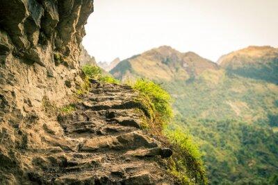 Fototapeta Schody z kamienia górskie w obwodzie Annapurnas