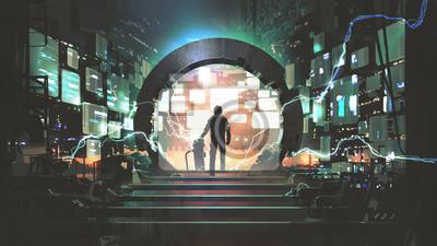 Fototapeta sci-fi concept showing a man standing at the futuristic portal, digital art style, illustration painting