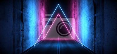 Fototapeta Sci Fi Futuristic Asphalt Cement Road Double Lined Concrete Walls Underground Dark Night Car Show Neon Laser Triangles Glowing Purple Blue Arc Virtual Stage Showroom 3D Rendering