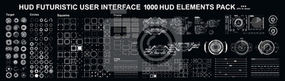 Fototapeta Sci-fi futuristic blue hud dashboard display virtual reality technology screen