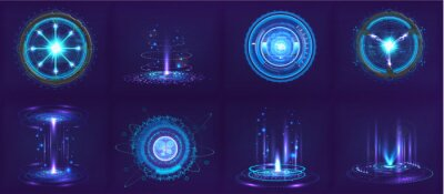 Fototapeta Sci-fi futuristic gadgets and devices in HUD style. Circle digital 3D elements for UI, GUI, VR and other. Hi-tech abstract elements - spheres, futuristic gadgets, holograms and other digital elements