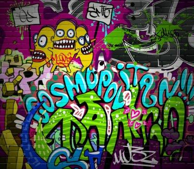 Fototapeta Ściany graffiti art miejskich. Grunge projektu hip hop