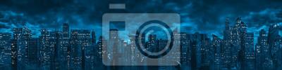 Fototapeta Science fiction city night panorama / 3D illustration of dark futuristic sci-fi city under dark cloudy night sky