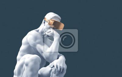 Fototapeta Sculpture Thinker With Golden VR Glasses On Blue Background