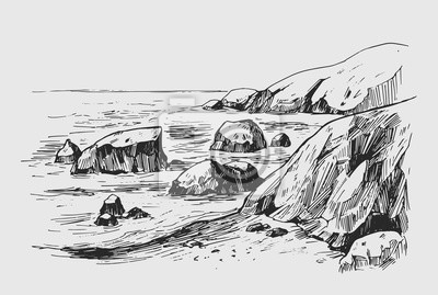 Fototapeta Sea sketch with rocks and mountains. Hand drawn illustration converted to vector